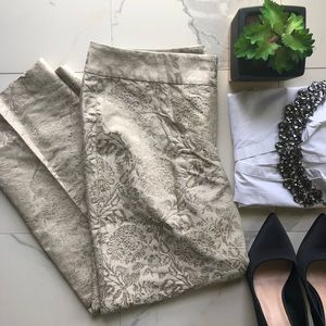 Ann Taylor Tan Silk Floral Patterned Pants